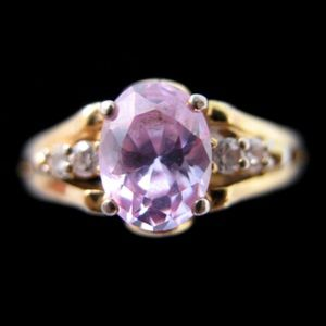 Jewelry - 18KT GE Gold Womens Simulated Pink Diamond Ring